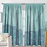 Petpany Blackout Curtains for Bedroom Nautical,Marine Beauty Shell with Seahorse Starfish Oysters Ocean Sea Tropical Image,Turquoise Teal,Thermal Insulated Darkening Panels for Cafe Windows 54'x72'