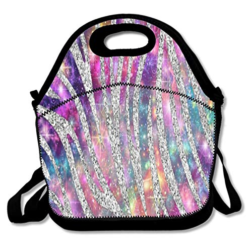 MLikdfjapf Holographic And Silver Zebra Gliter Lunch Bag Waterproof Picnic Tote Insulated Cooler Zipper Box