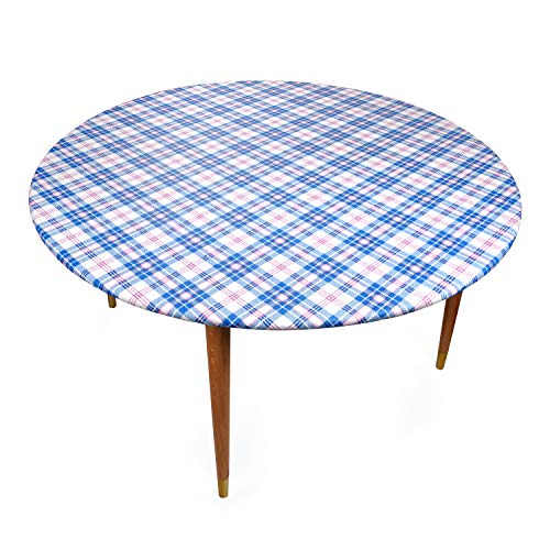 "Round Vinyl Tablecloth - Stitched Elastic Edge for 45-56 Inch Snug Fit - Heavy Duty, Felt Back, Plaid Pattern Table Cover, Easy Clean Up - Pink, Blue, White - Fits 45"" to 56"" Diameter"