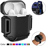 AirPods Charging Case Protective Water / Shock Resistant Silicone Cover Sports Design with Hard Sleeve and Keychain for Apple Airpods(Black)