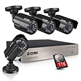 ZOSI 8CH Security Camera System HD-TVI 1080N Video DVR recorder with 4x HD 1280TVL 720P Indoor Outdoor Weatherproof CCTV Cameras 1TB Hard Drive,Motion Alert, Smartphone, PC Easy Remote Access