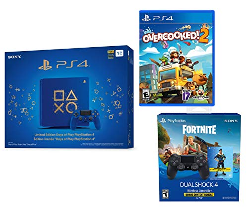 PlayStation 4 Overcooked! 2 Fortnite Bonus Limited Bundle: Overcooked! 2, Fortnite Royale Bomber Outfit (500 V-Bucks), Limited Edition PlayStation 4 Slim Days of Play 1TB Console with Extra Controller