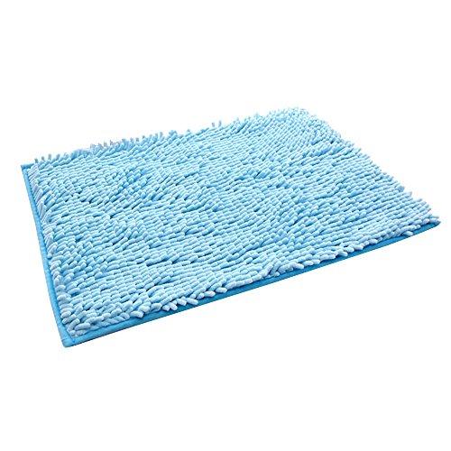 Top Kaimao Chenille Non-slip Bath Mat Rug Washable Soft Shaggy Absorbent Multipurpose Shower Mat Carpet 15.7 x 23.6 inch - Light Blue