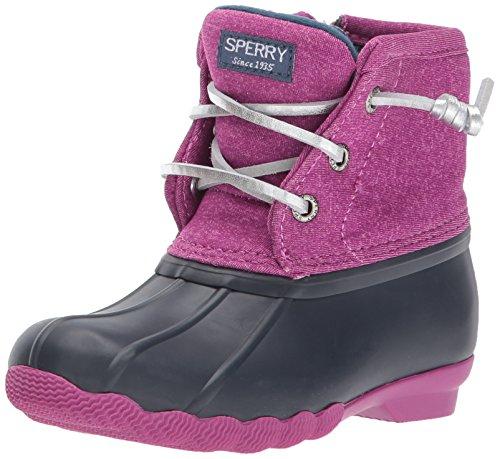 Sperry Top-Sider Girls' Saltwater Snow Boot, Navy/Magenta, 3 Medium US Little Kid
