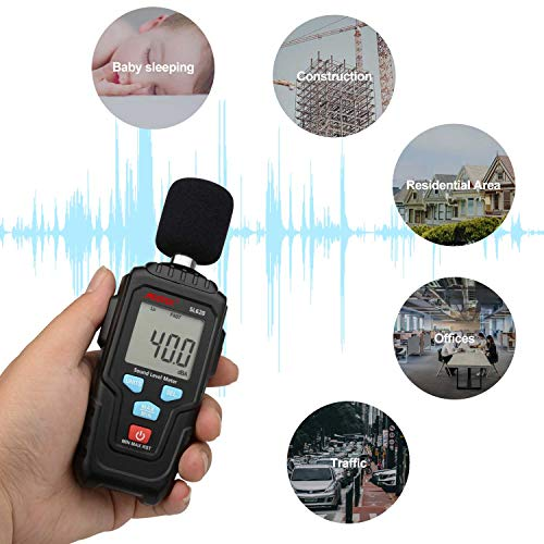 Decibel Meter Digital Sound Level Meter MESTKE 30 – 130 dB Noise Volume Measuring Instrument Reader Self-Calibrated Max Min Data Hold Fast/Slow Mode LCD Backlight Display/Flashlight by MESTEK (Image #2)