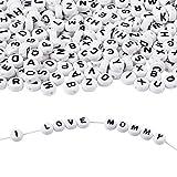TOAOB - abalorio redondas de acrílico, 800 unidades, 6 mm, para pulseras, collares, juguetes educativos, regalo hecho a mano, color blanco
