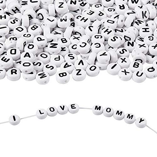 TOAOB 800 Pieces White Acrylic Alphabet Beads Letter A to Z Cube Beads 4x7mm for DIY Jewelry Making Bracelets Necklaces Key Chains