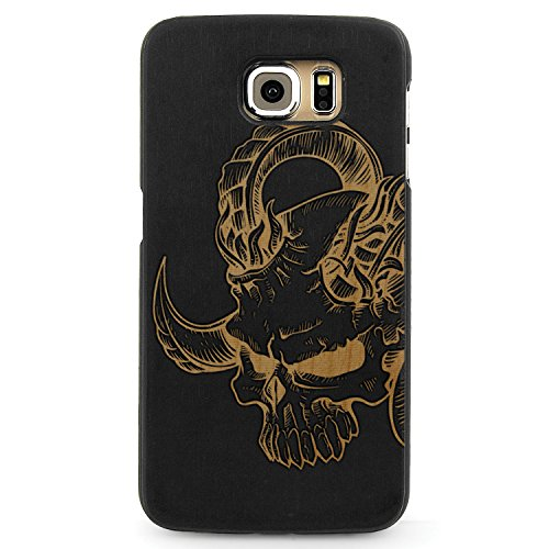 Laser Engraved Wood Case for Apple iPhone Samsung Galaxy Devil Skull Horns Punk Tattoo for Galaxy Note 5 Black Case