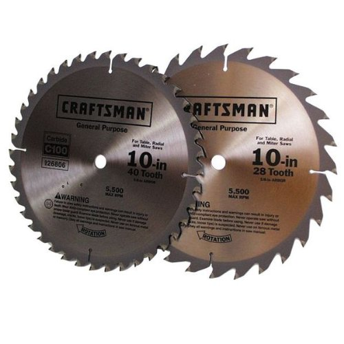 Craftsman 10 in. Saw Blade Pack, 2 pk. 28T and 40T 29283 (Craftsman Saw Carbide Blade)