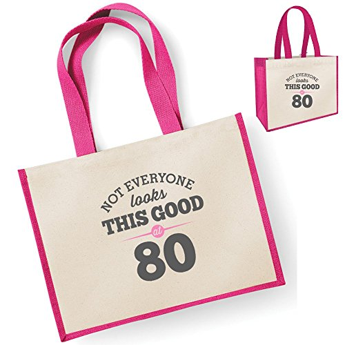 , Funny 80th Birthday Souvenir, Gift, Gift, Womens, Gift, Gift, Female Lady Look Birthday, Womens, Shopping Bag, Present Bag, Fuchsia Idea R