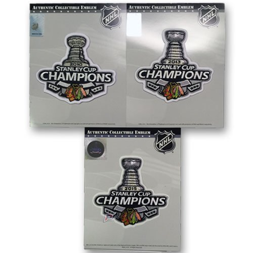 2010, 2013 & 2015 Stanley Cup Finals Champions Patch Chicago Blackhawks Combo ()