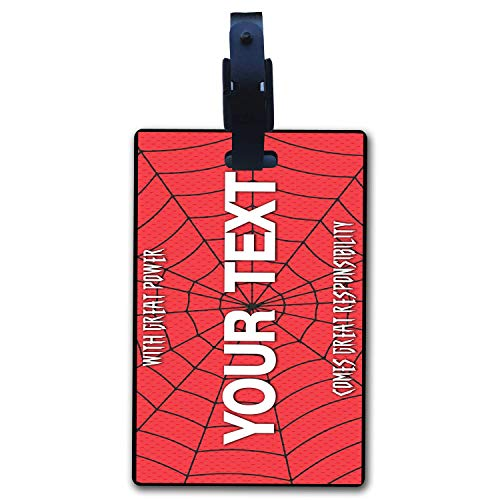(BRGiftShop Personalize Your Own Superhero Series: With Great Power Comes Great Responsibility Spider Web Luggage Tag with Address Card Holder )