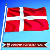 G128 Denmark Danish Flag 3x5 ft Printed Brass Grommets 150D Quality Polyester Flag Indoor/Outdoor - Much Thicker and More Durable than 100D and 75D Polyester