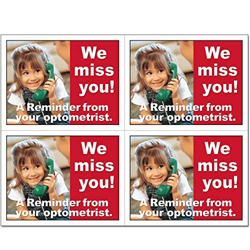 Laser Reminder Postcards, Optometric Appointment Reminder Postcards. 4 Cards Perforated for Tear-off at 4.25'' x 5.5'' on an 8.5'' x 11'' Sheet of 8 Pt Card Stock. OPT113-LZS (2500) by Custom Recall (Image #1)