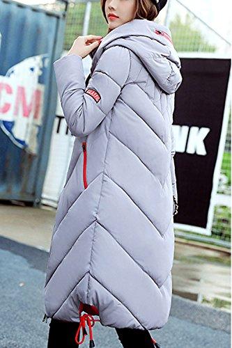 Parkas BF Con Acolchado Capucha Cordon Mujer Grey Con De Outwear Estilo Invierno Largo WnFXqRxY