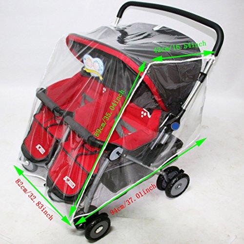 Jiyaru Twin Stroller Rain Cover Universal Buggy Waterproof Wind Dust Shield by Jiyaru (Image #3)
