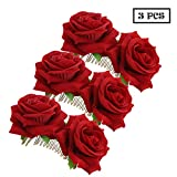 Twdrer 3 Pack Flower Hair Combs, Rose Flower Hair Combs Flamenco Dancer Hair Combs Dancer Hair Pins Red Flower Hair Combs (Red)