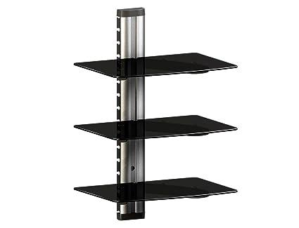 RICOO RDV-0112 - Estantería de cristal para pared para dispositivos multimedia (3 estantes