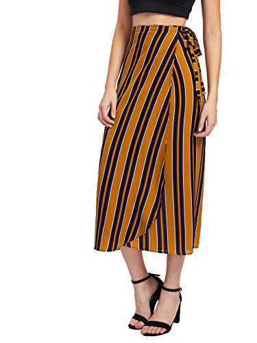 Milumia Women's Bohemian Stripe Print Wrap Skirt Long Maxi Skirt Yellow-1 - Wrap Sari Women