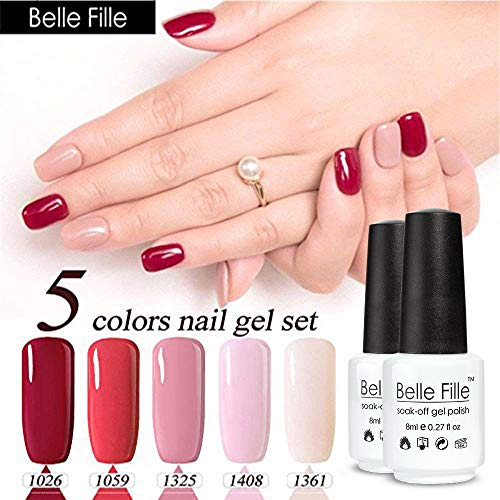 Belle Fille 5 Colors Nail Gel Polish Set Professional UV Gel Nail Polish UV/LED Manicure Gel Varnish Vernis Semi Permanent