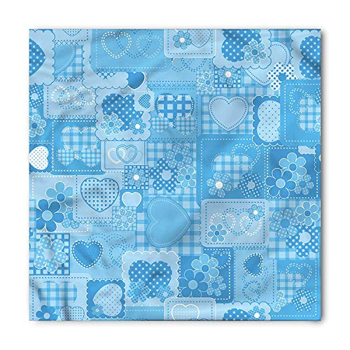 - Blue Bandana, Hearts and Daisies Patchwork, Unisex Head and Neck Tie,Unisex Bandana Head and Neck Tie Neckerchief Headdress Silk-Like 100% Polyester(size:M)