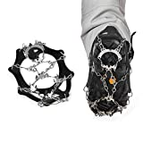 Nachvorn 18 Teeth Outdoor Walk Traction Cleats Spikes Crampons for Walking on Snow/ Ice And Climbing, M