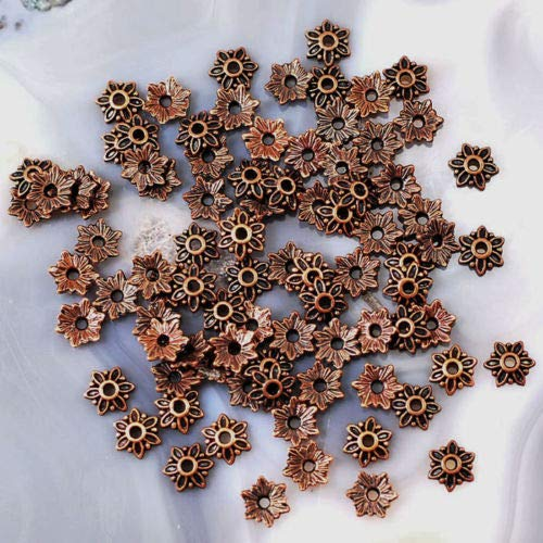 Bead Caps Copper Antique - 80pcs Bead Cap Antique Copper Brass Silver Jewelry Findings (Antique Copper)