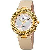 Akribos XXIV Women's Quartz Diamond, Crystal, Mother-of-Pearl Gold-Tone & Champagne Leather Strap Watch - AK1008YG