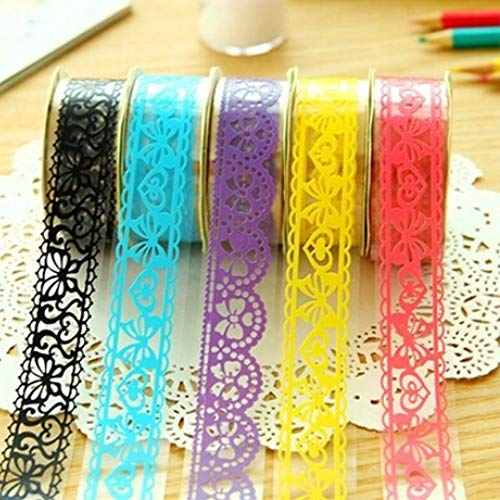 (Washi Tape Lace Flower Clear Pattern,DIY Decorative Tape Masking Tape Sticky Paper Adhesive Tape for Embellishing Cards,Gifts,Craft Projects,Scrapbook Layouts(Random Pattern,5)