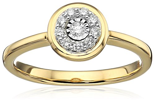 Round Cut Diamond Yellow (10k Yellow Gold Round-Cut Diamond Promise Ring (1/10cttw, white Color, I1-I2 Clarity), Size 7)
