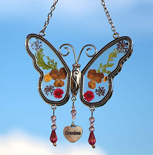 KY&BOSAM Grandma Butterfly Suncatchers Stained Glass Grandma Wind Chime with Pressed Flower Wings Embedded in Glass with Metal Trim Grandma Heart Charm Gifts for Grandma for Birthdays Christmas - Flowers Stained Glass Wind Chimes