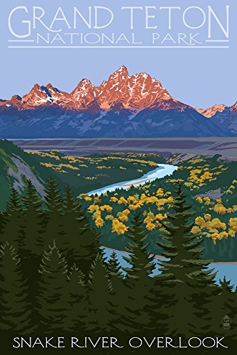 Grand Teton National Park, Wyoming - Snake River Overlook (9x12 Art Print, Wall Decor Travel Poster) ()
