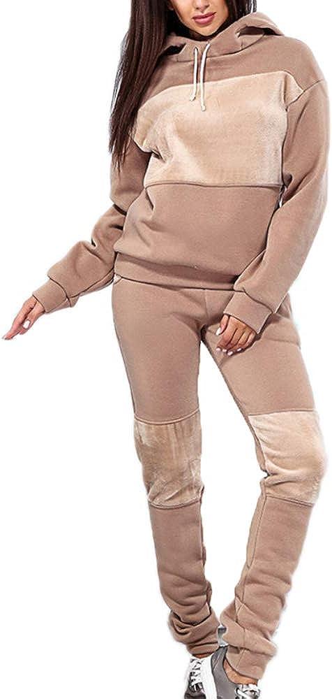 Conjuntos de Deporte Ch/ándal para Mujer,Chandal Conjunto para Mujer Moda Casual Conjuntos Deportivos Manga Larga Sudadera con Capucha Pantalones 2pcs Plus Size