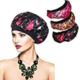SEVENSTONE 3Pcs Women's Soft Elastic Floral Silk Nightcap Hair Care Cap Chemo Beanie