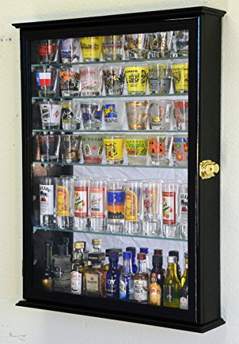 and 7 Glass Shelves Shot Glasses Display Case Holder Cabinet , Black (Backed Glass)