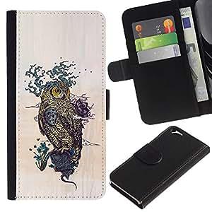 YiPhone /// Tirón de la caja Cartera de cuero con ranuras para tarjetas - Dibujo Patrón Búho - Apple Iphone 6
