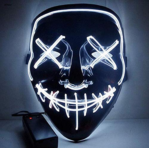 Moonideal LED Light up Mask Festival Parties Frightening Wire Halloween Sound Induction Flash with Music -
