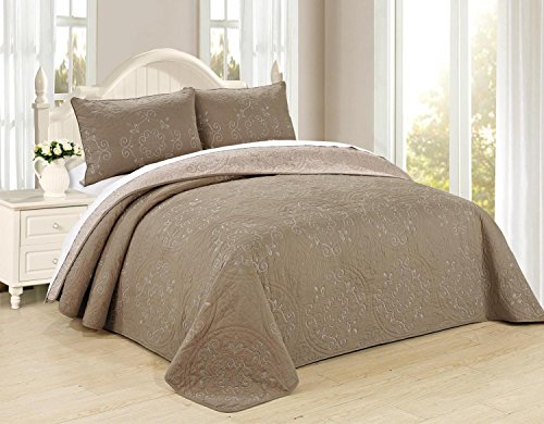 All American Collection New 3pc Circle Reversible Embroidered Bedspread/Quilt Set (King 3pc, Taupe)