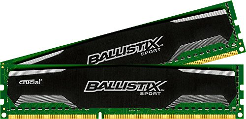 Crucial Ballistix Sport 8GB Kit (4GBx2) DDR3 1600 MT/s (PC3-12800) CL9 @1.5V UDIMM 240-Pin Memory BLS2K4G3D169DS1J (R4 De Ds I)