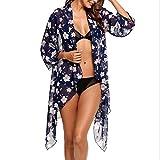 VIASA_ Women Cover up Blouse Chiffon Print Bathing Suit Bikini Swimwear Sexy Beachwear Smock (Blue, L)