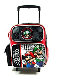 Small Size Black Power Players Super Mario Rolling Backpack - Super Mario Brothers Luggage with Wheels