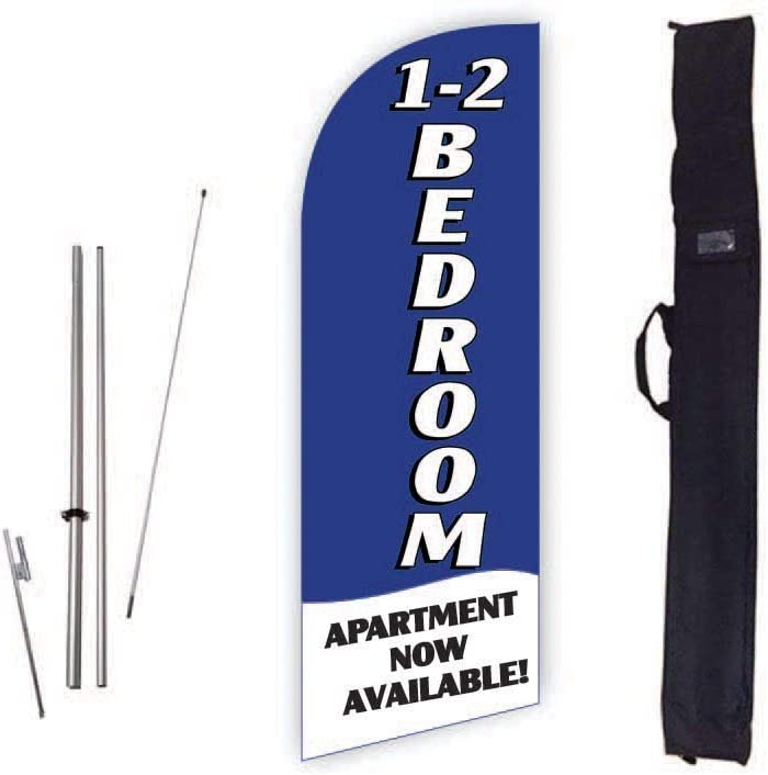 Cobb Promo 1-2 Bedroom Apartment Now Available (Blue) 6ft Real Estate Feather Flag with Complete 8ft Pole kit, Ground Spike and Carry Bag
