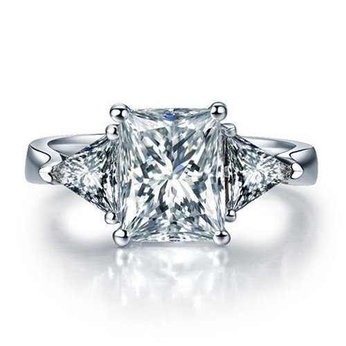 Princess Cut Forever Brilliant Moissanite Engagement Ring and Diamonds 14k White Gold or 14k Yellow Gold Diamond Ring