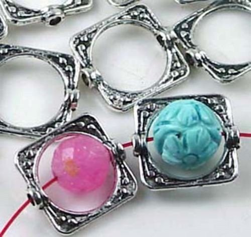 OutletBestSelling Pendant Bracelet 20 Silver Pewter Square Frame Beads 15mm