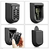 Key Lock Box, Exterior Outdoor Waterproof Hide Wall Mounted Key Safe Box - House use Key Storage Lock Box(Black)