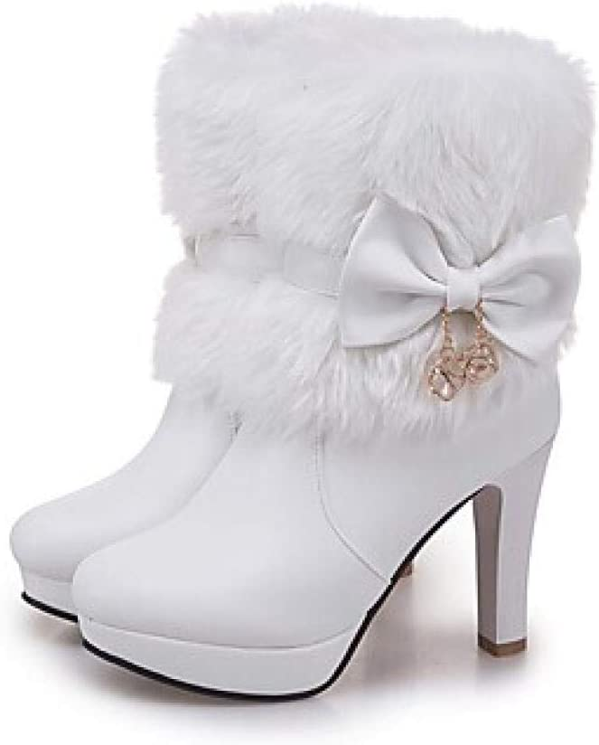 Vrouwen laarzen blokhak ronde kap Bowknot kunstleer booties/laarzen mode laarzen winter wit/zwart/roze / EU39 roze