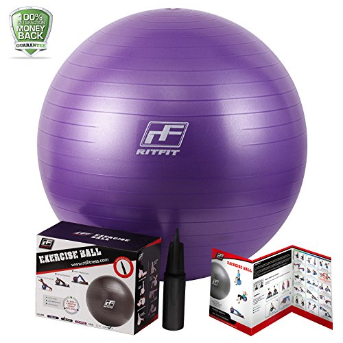 RitFit 2000lbs Static Strength Exercise Stability Ball with Pump- Anti-Burst, Anti-Slip Fitness Ball,Yoga Ball, Swiss Ball, Includes Workout Guide, can Use as Desk Chair(Purple,55cm)