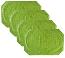 Woven Straw Textured Solid Pattern Vinyl Reversible Placemat Set- Set of 4, Apple Green