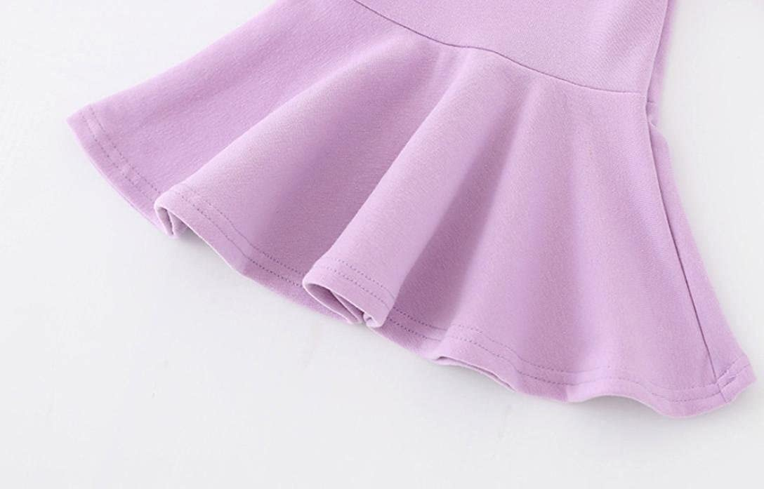 Multi-Color erthome 0-4 Year Old Girls Solid Color Long-Sleeved Casual Dress