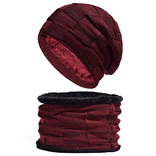 Spikerking Mens Winter Knitting Wool Warm Hat Daily Slouchy Hats Beanie Skull Cap (One Size, Wine red(hat+Scarf)) ()
